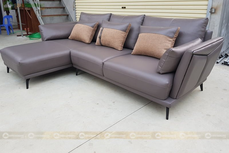 bộ ghế sofa da góc phòng khách