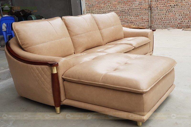 sofa da công nghiệp cao cấp khung viền gỗ