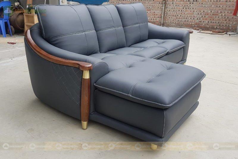 bộ ghế sofa góc chân gỗ bọc vàng