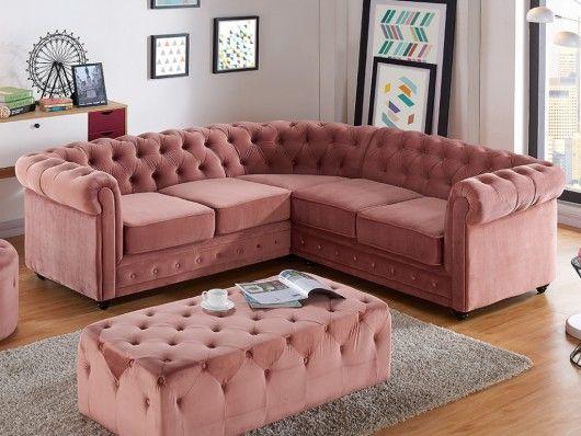 ghế sofa góc màu hồng đẹp