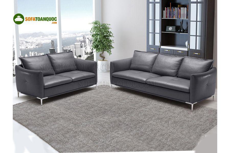 Ghế sofa văng da bò thật cho không gian hiện đại và sang trọng.