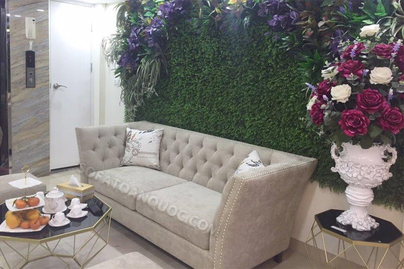 sofa văng bọc vải chân gỗ đẹp