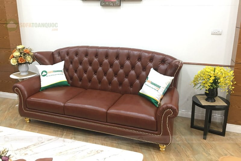 sofa chung cư tân cổ điển bọc da