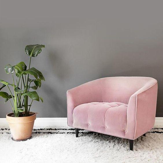 ghế sofa đơn màu hồng cánh sen