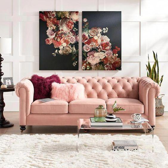 ghế sofa tân cổ điển văng dài màu hồng