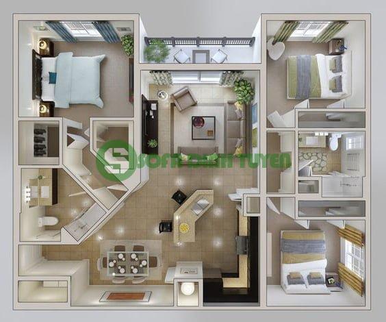 diện tích tổng thể toàn bộ căn hộ