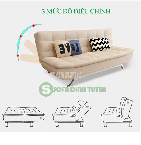 3 mức điều chỉnh của sofa giường đem tới những tư thế thoải mái cho người sử dụng.