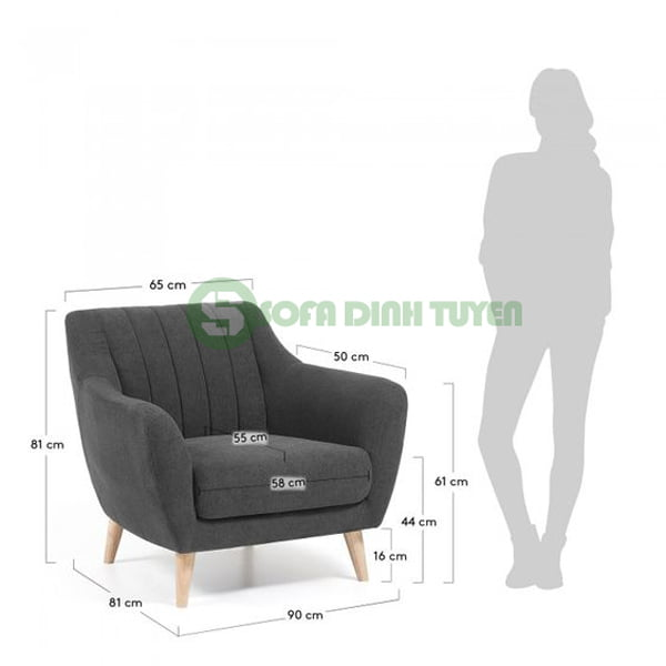 Một mẫu ghế sofa đơn kích thước vừa phải cho khách hàng tham khảo.