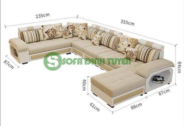 kích thước sofa góc chữ L cho phòng khách rộng