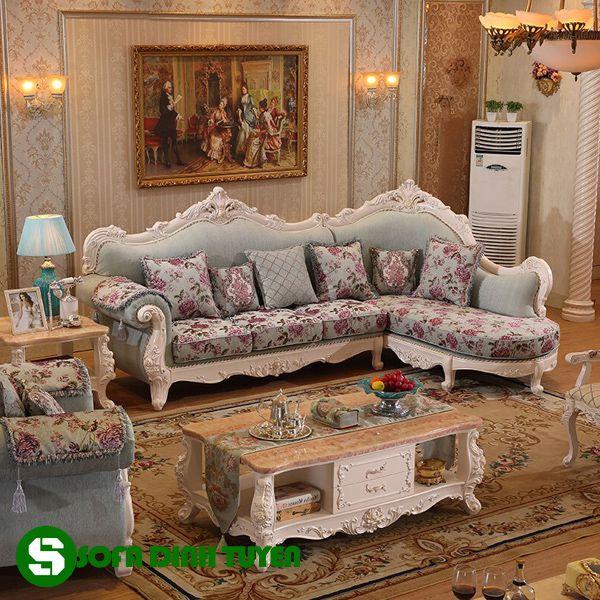 Chất liệu sofa vải bọc nhiều sự lựa chọn màu sắc, hoa văn và giá thành rẻ.