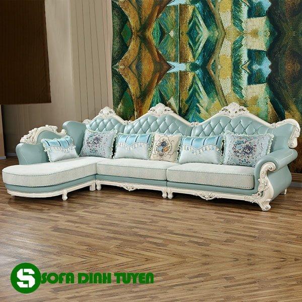 Chất liệu vải nỉ của mẫu sofa hoàng gia bền đẹp có thể thay đổi màu sắc dễ dàng.