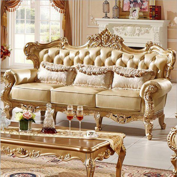 Bộ ghế sofa hoàng gia bọc da thật động vật cao cấp mã SFHG12