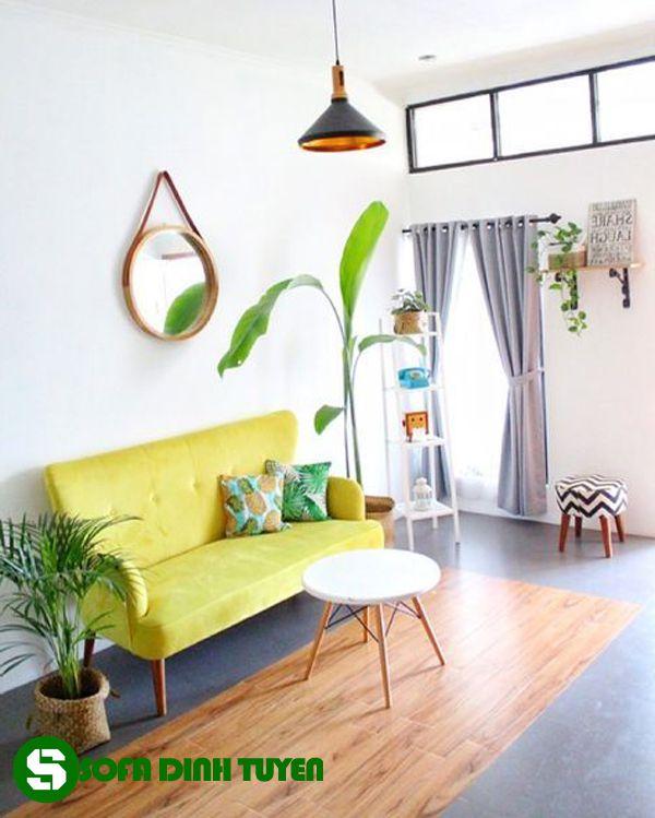 sofa nhà nhỏ dạng sofa văng chân gỗ