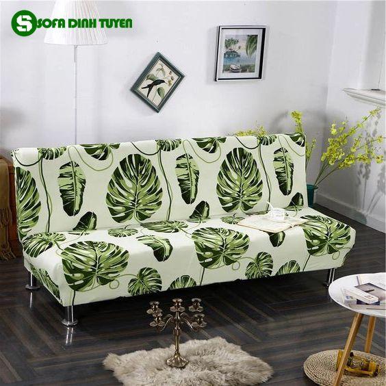 chăn phủ sofa màu xanh lá cây hoa lá