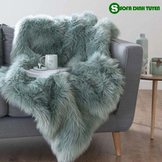 chăn phủ sofa lông cừu