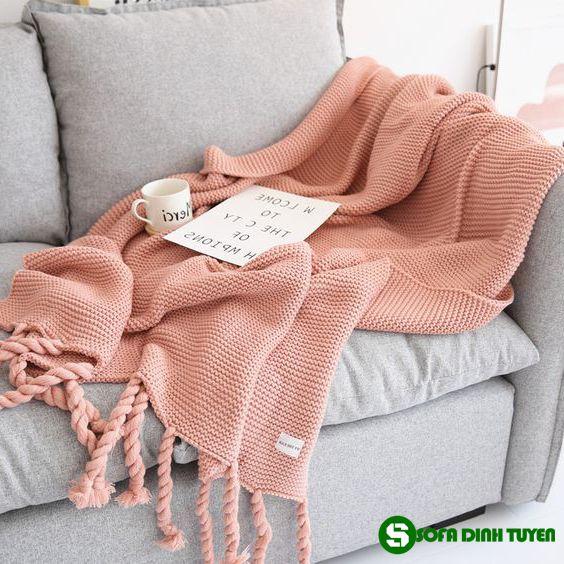khăn phủ sofa màu nude